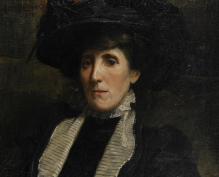 Charles van Havermaet (British, active 1895-1911) Portrait of a woman, bust length, in a black dress and hat
