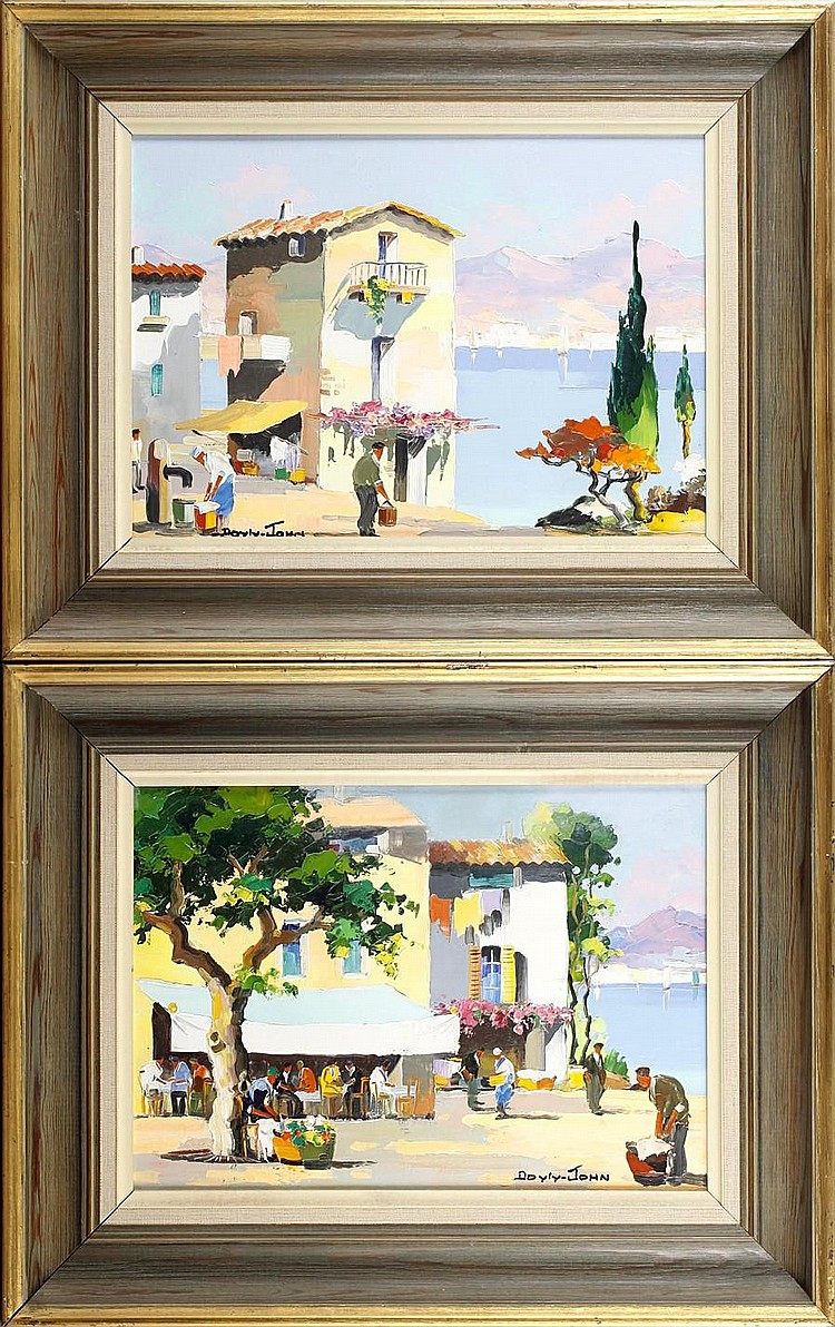 D'Oyly John (British, 1906-1993) Juan les Pins near Cannes and Nice; Along the Spanish Coast on the Costa Brava,