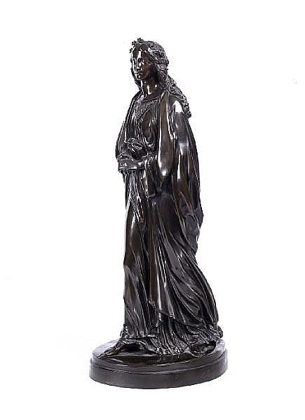 John Hancock (1825-1869) A Victorian bronze figure by Elkington, Mason & Co entitled 'Beatrice'