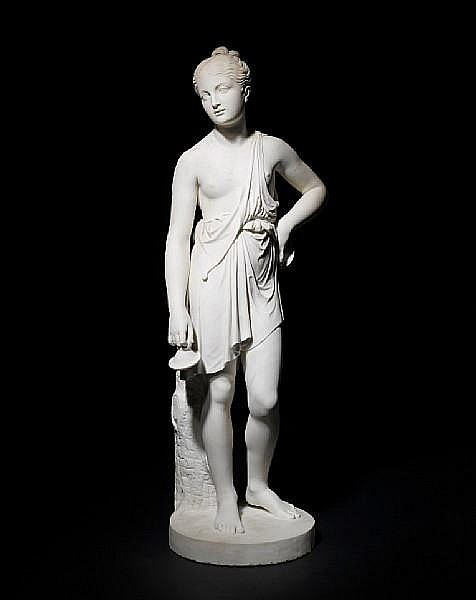 John Gibson RA, English (1791-1866)An early 19th century carved white marble figure of a young girl
