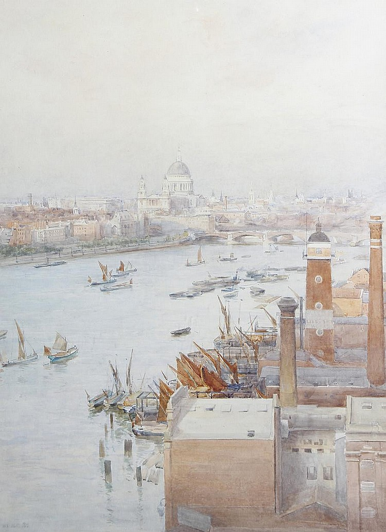 Max Ludby (British, 1858-1943) Thames looking towards St. Paul's and Blackfriars Bridge