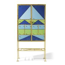 Elizabeth Garouste (born 1946) Arlequin Cabinet2002gilt iron, glazed ceramic, ebonized wood, stamped 'EG' and 'P. BASSE FERRONIER POUR EG'height 63 1/4in (160cm); width 31 1/2in (80cm); depth 17in (43cm)