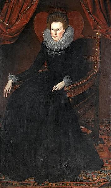 Circle of William Larkin (active 1580-1619 London) Portrait of a lady, full-length,
