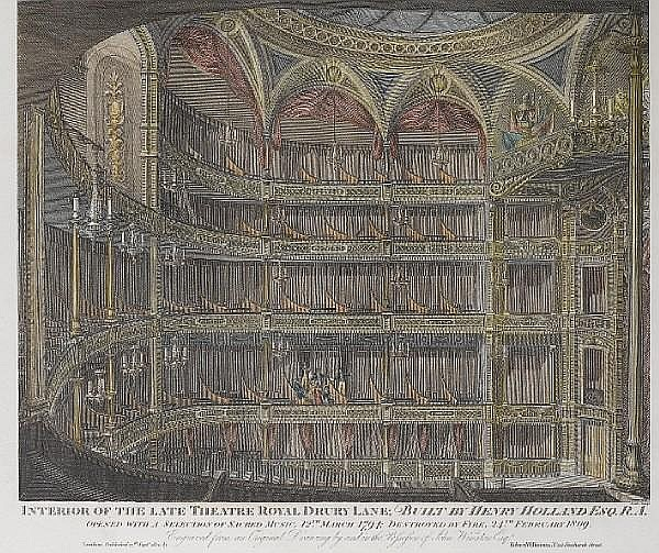 Henry Sheppard Dale (British, 1852-1921) Interior of late Theatre Royal, Drury Lane Hand-coloured engraving, published by R.Wilkinson 1820, 215 x 273mm (8 1/2 x 10n 3/4in), together with another, 'North East view of the Surrey Theatre' by William