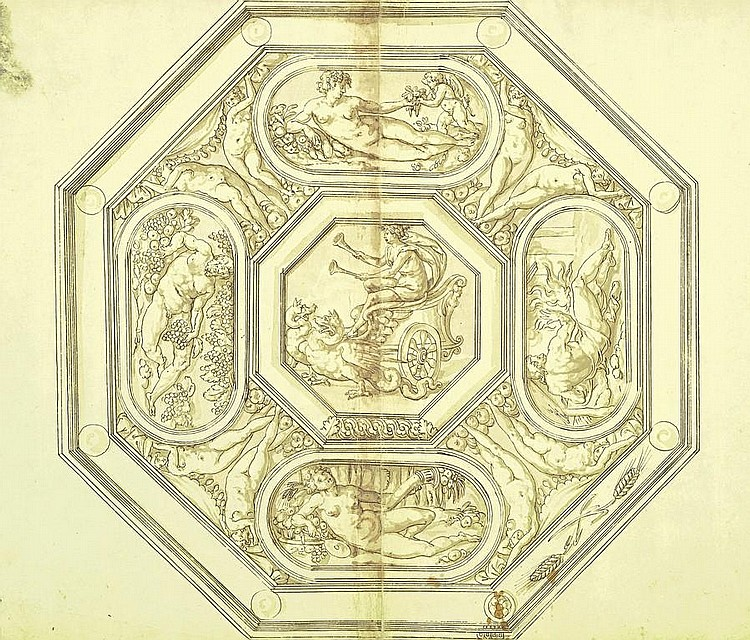 Jacopo Strada (Mantua 1510-1588 Vienna), and Studio Design for an octagonal tray with the Four Seasons and Ceres in her Chariot