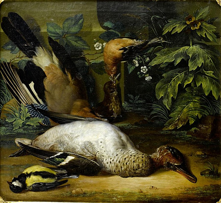 Anton Friedrich Harms (Brunswick 1695-1745 Cassel) A dead jay, chaffinch, teal and a great tit