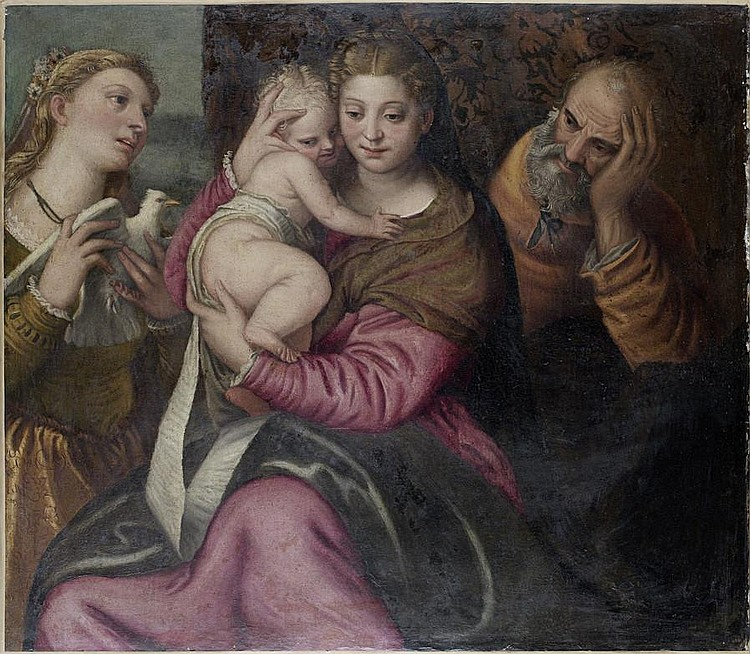 Attributed to Benedetto Caliari (Verona 1538-1598) The Holy Family with a female martyr saint