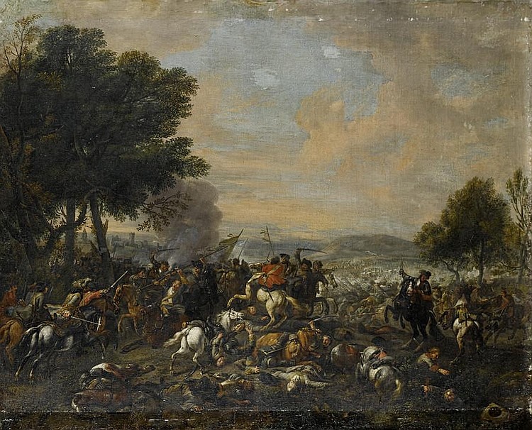Circle of Christian Reder (Leipzig 1656-1729 Rome) A cavalry skirmish