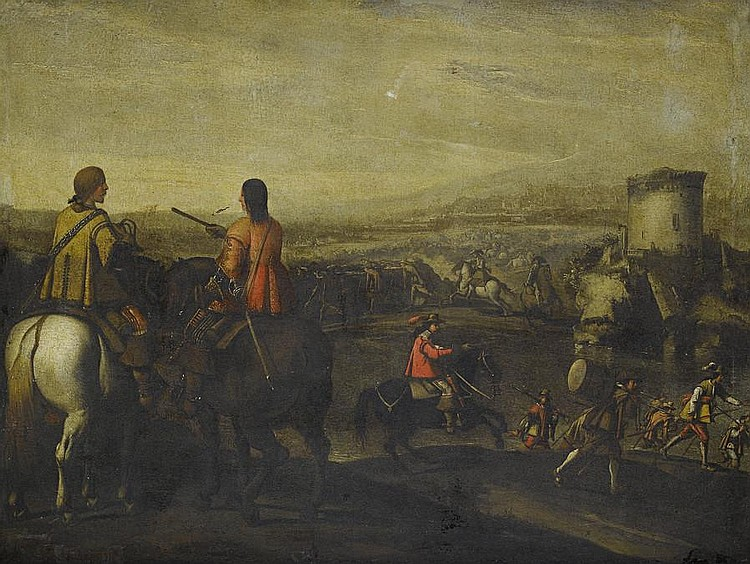 Circle of Aniello Falcone (Naples 1607-1656) Mounted officers with a cavalry skirmish in the distance