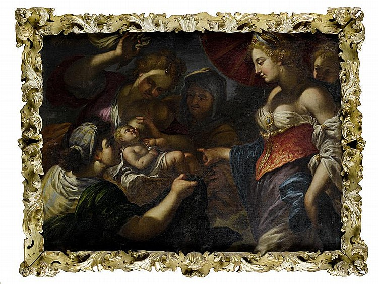 Circle of Antonio Molinari (Venice 1655-1704) Abraham and the Three Angels; and The Finding of Moses (2) in carved and gilt frames