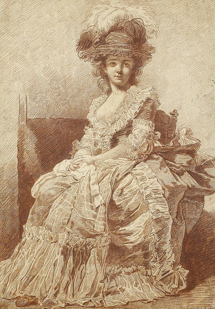 François André Vincent (Paris 1746-1816) Portrait of Madame Bergeret, full-length, seated in a chair, wearing a feathered hat