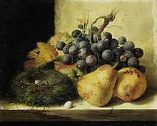 Edward Ladell (British, 1821-1886) Still life with pears and grapes