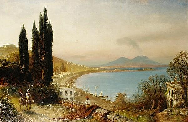 Albert Arnz (German, 1832-1914) Figures on a track with the Bay of Naples beyond