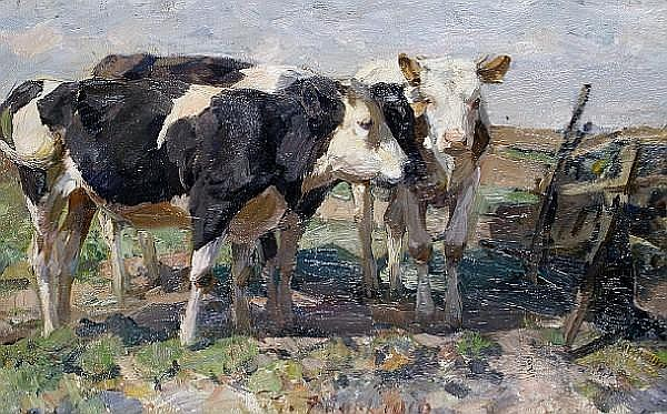 Heinrich Johann von Zügel (German, 1850-1941) Cows in a field
