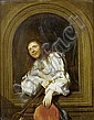 Jacob Ochtervelt (Rotterdam 1634-1682 Amsterdam) Portrait of a gentleman, bust-length, in a white silk chemise and a red waistcoat,, Jacob Ochtervelt, Click for value