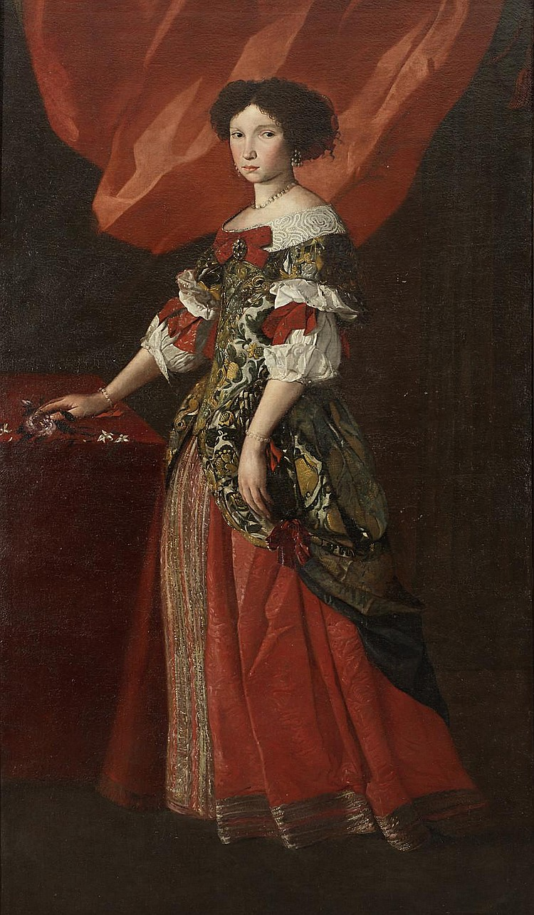 Pier Francesco Cittadini (Milan 1616-1681 Bologna) Portrait of a lady, full-length, in a red and gold brocade dress