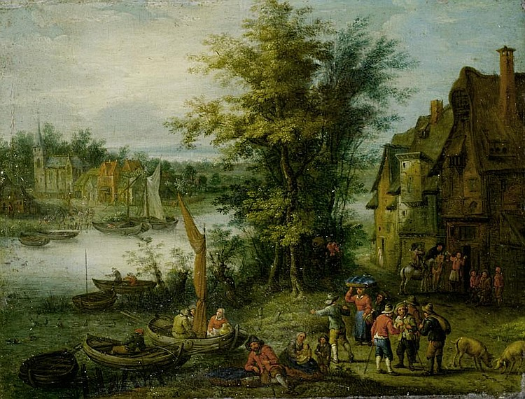 Attributed to Karel Beschey (Antwerp 1706-1776) Peasants crossing a river on barges, before an open landscape