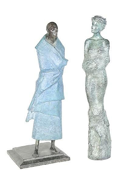 David Backhouse (British, B. 1941): A patinated and painted bronze figure of a shrouded man
