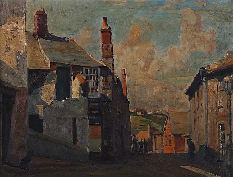 John Anthony Park (British, 1880-1962) Village street, near St. Ives, Cornwall(?)
