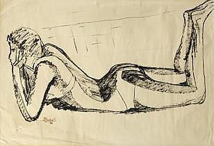 * MICHELE BASBOUS (Lebanon, 1921-1981) Untitled (Nude)