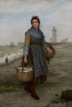 Eugene-Marie Salanson (French, 1864-1892) Returning from the fish market 40 1/8 x 28 1/8in (101.9 x 71.4cm)