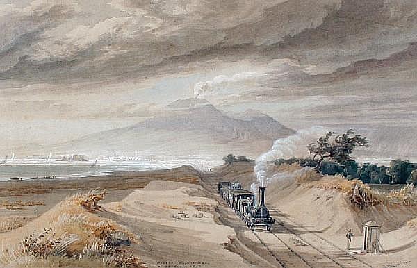 Georg Heinrich Busse (German, 1810-1868) Near Castellammare with Vesuvius in the distance