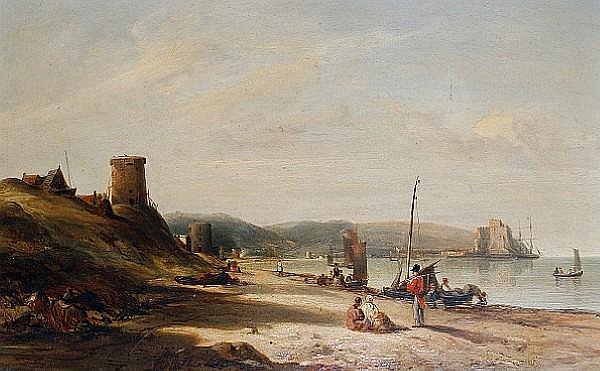 Alfred Clint (British, 1807-1883) Mount Orgueil Castle from Grouville Bay, Jersey 33 x 51.5 cm (13 x 20 1/2 in).