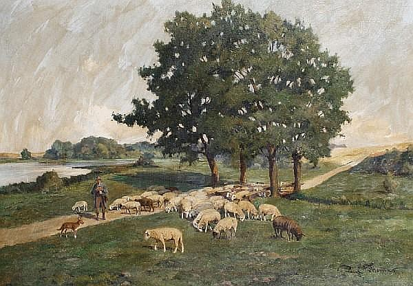 Paul Thomas (French, born 1859) A shepherd and his flock on a country lane