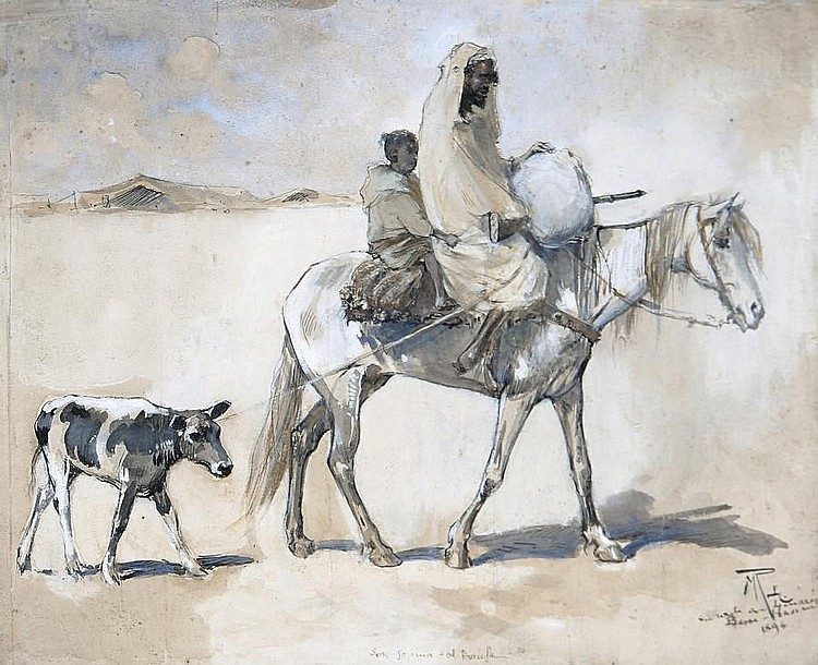 Maurice Romberg De Vaucorbeil (French, 1862-1943) Crossing the desert