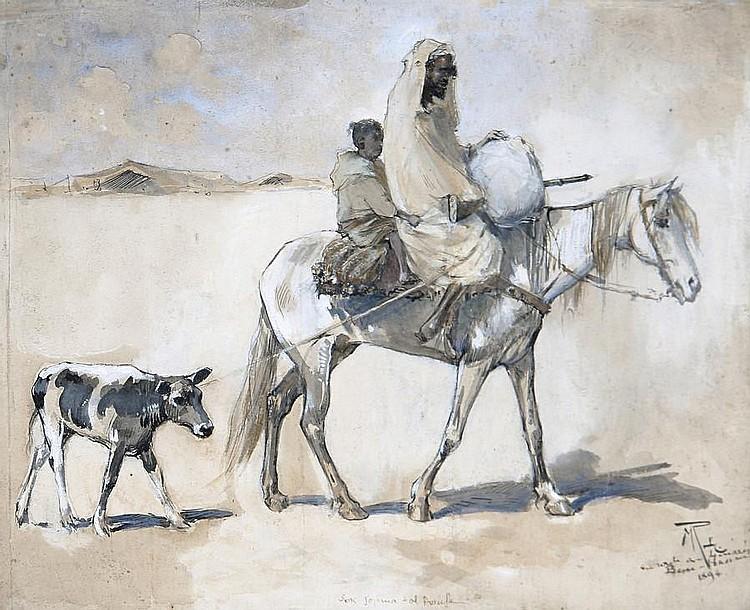 Maurice Romberg De Vaucorbeil (French, 1862-1943) Crossing the desert