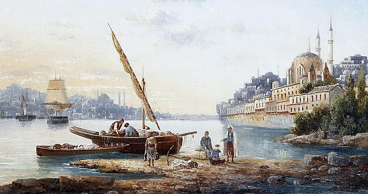 Anton Schoth (German, 1859-1906) Istanbul from the Bosphorus