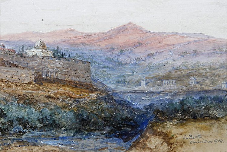 Samuel Lawson Booth (British, ?-1928) View of Jerusalem, Together with a watercolour of Cairo by Herbert Lyndon. (2)