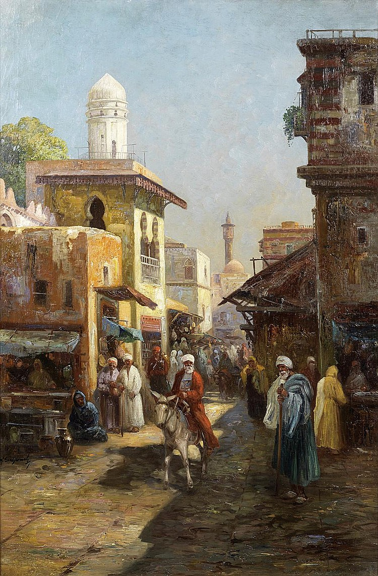 Albert Gustav Schwartz (German, born 1833) Street scene in Damascus