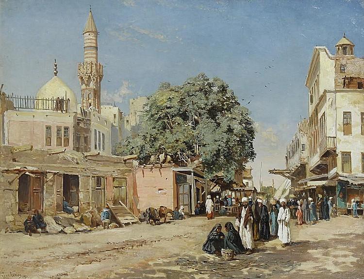 John Varley Jnr. (British, 1850-1933) The market place, Boulac, Cairo