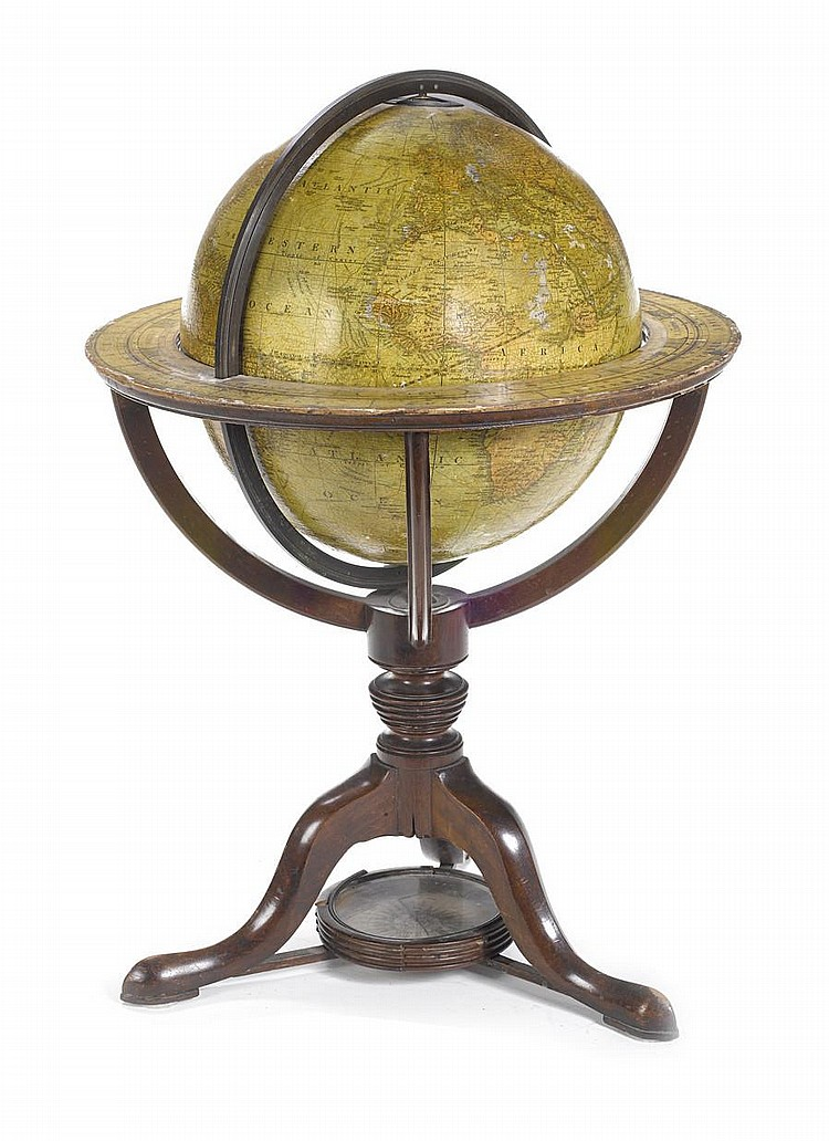 A Cary's 12-inch terrestrial table globe, English, published 1836,
