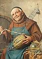 Giovanni Sandrucci (Italian, 1828-1897) Monk with wine bottle, Giovanni Sandrucci, Click for value