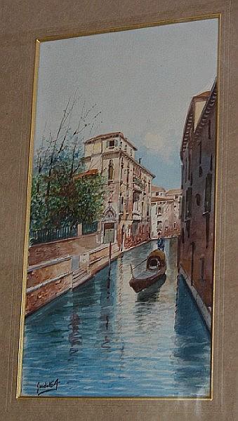 Antonio Guidotti (Italian, 1881-1958) Venetian canal scenes
