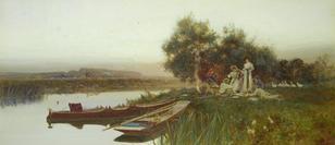 Tom Lloyd-(British, 1849-1910)-A summer picnic beside a river