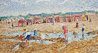 Camille Lesne (French, born 1908-?) Children on the beach