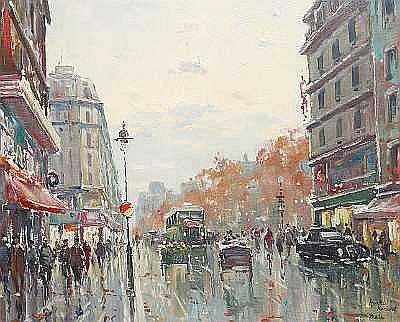 Henri Renard (French, 19th/20th Century) Busy street scene