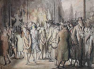 Harold Hope Read (British, fl.1907-1928) Crowded street scene