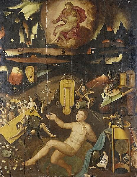 Follower of Hieronymus Bosch ('s Hertogenbosch circa 1450-1516) A Vision of Hell, unframed