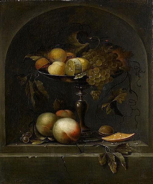 Johannes Borman (The Hague -circa 1659) Peaches, grapes and a lemon in a silver gilt tazza