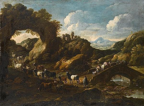 Cajetan Roos, called Gaetano de Rosa (Rome 1690-1770 Vienna) A rocky river landscape