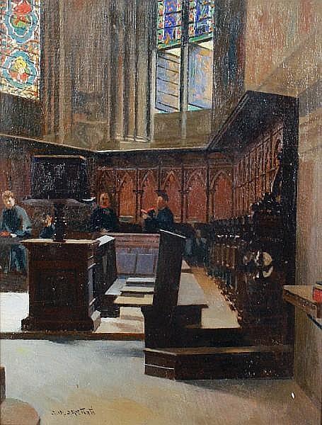 Antonio Maria Aspettati (Italian, 1880-1949) A church interior