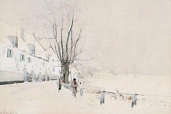 Henry Stacquet (Belgian, 1835-1907) Figures in a winter landscape