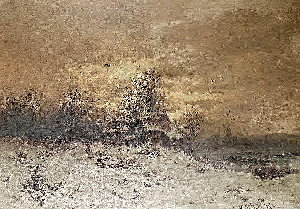 Friedrich Josef Nicolai Heydendahl (German, 1844-1906) Winter landscape