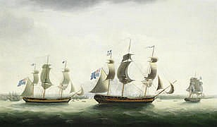 Attributed to Francis Holman (British, 1729-1790) H.M.S. Melampus with the frigates Diamond, Hebe, Niger and Siren off Jersey, 9th May 1795