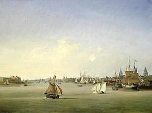 Ambroise Louis Garneray (French, 1783-1857) Shipping on the Seine, Rouen