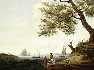 Francis Holman (British, 1729-1790) Looking out across a bay